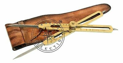 """9"""" Drafting Tool Scientific Brass & Steel Proportional Divider With Leather Case"""