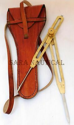 """9"""" Solid Brass Steel Point Proportional Divider Drafting Tool With Leather Case"""