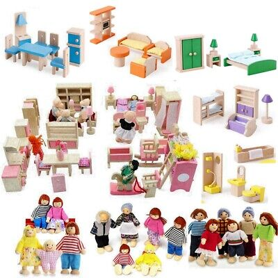 Kids Wooden Furniture Dolls House Miniature Room Set Doll Toy Xmas Birthday Gift