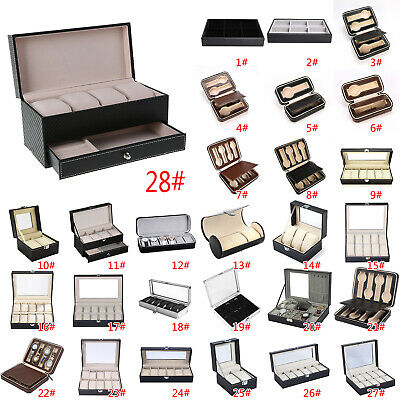 2-12 Grids Watch Jewelry Storage Hold Box Watches Sunglasses Display Case Gift
