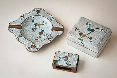 Antique Chinese White Cloisonne Smoking Set w/ Box, Matchbox Holder & Ash Tray