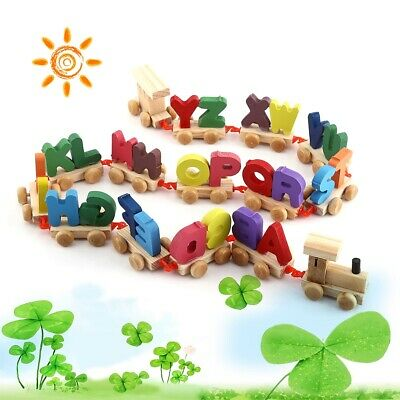 Fashionable Colorful Wooden Letters Train Educational Alphabetical Assemble Toy@