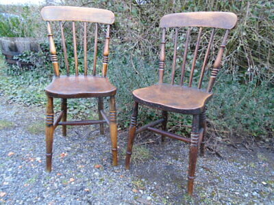 Pair of Old Vintage Victorian, English Elm and Beech Kitchen Chairs.