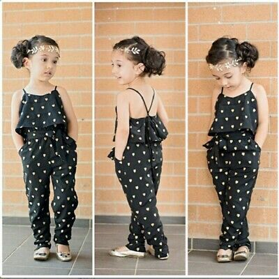 Toddler Kids Baby Girl Summer Beach Spotted Romper Jumpsuit Bodysuit Outfit UK