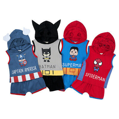 Newborn Infant Baby Boy Marvel Super Heros Clothes Outfit Top Shirt+Shorts Set