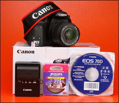 Canon EOS 70D DSLR Camera +18-55mm Zoom Lens kit Battery & Charger 4,055 Shots