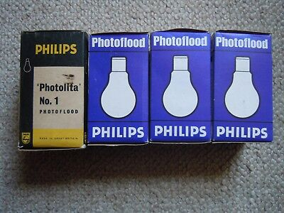 Four Philips No1 Photoflood BC Pearl 275w 240v Light Bulbs