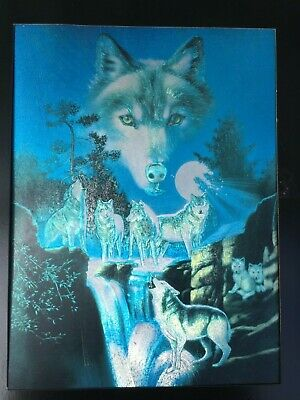 Rare Vintage 1994 Dufex Foil Print Group Wolves Wolf Howling Under Moon Pups