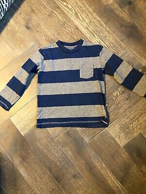 Boys Mini Boden Navy And Grey Striped Long Sleeved Top Age 5-6