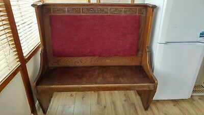 Vintage Antique Church pew dining bench hallway seat dark wood with engravings