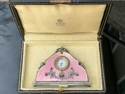 Antique Russian Faberge Silver Pink Guilloche Enamel Diamonds Miniature Clock