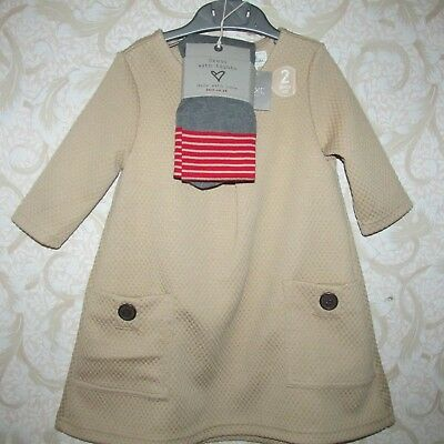 BNWT NEXT girls beige DRESS with tights 3-4 years TRACKED
