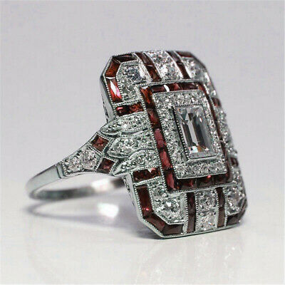 Antique Art Deco Large Jewelry Fashion Silver ruby & Diamond Ring size 6