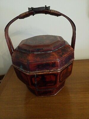 Antique Chinese Wedding Rice Wood Basket Hand Painted Warriors 11 X 14