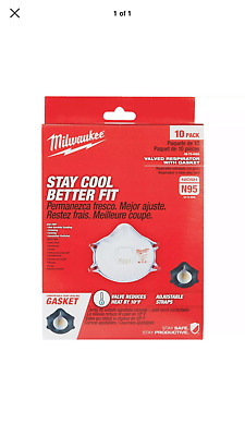 Milwaukee N95 Mask Valved Respirator Tight Seal Gasket NIOSH Virus Flu Box 10 Ct