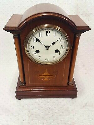 Antique inlaid mahogany striking mantel clock by H.A.C. Mantle / bracket clock