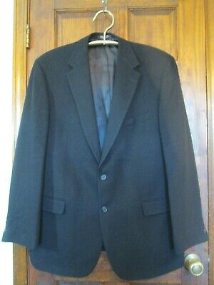 ANDREW FEZZA Mens 100% Camel Hair Blazer Sport Coat Jacket Black 2 Button 46L