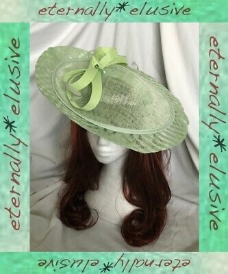 HAWKINS Pale Green Special Occasion Tilted Disc HeadBand Hat Ascot Races Wedding