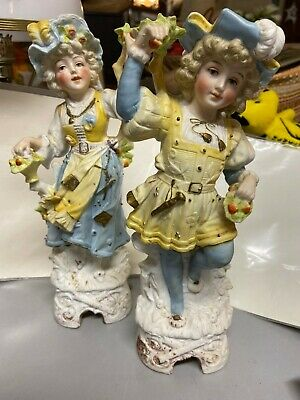 Pair Antique Vtg Kalk German Porcelain Bisque Victorian Figurines 11""