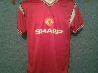 Manchester United Retro Home 1985 Shirt. Med Score Draw Red Adults Man Utd