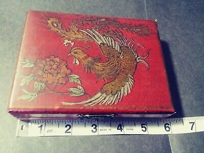 Chinese box with latch, red leather, bird design, cosmetic or multipurpose box