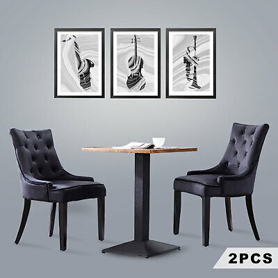 2PCS Elegant Fabric Tufted Design Dining Chairs Wooden Kitchen Cafe Chairs Black