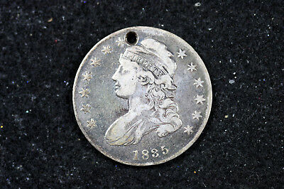 Estate  Find 1835 HOLED  Capped Bust Half Dollar  #D12271