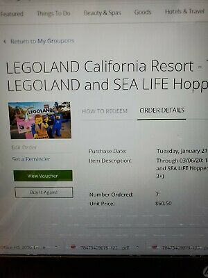 Lego Land CA theme park/SeaLife Aquarium Hopper Tickets - set of 4