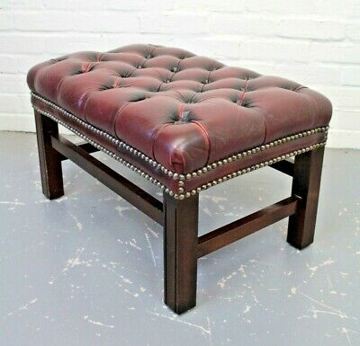 Antique Style Mahogany & Red Leather Chesterfield Footstool Stool