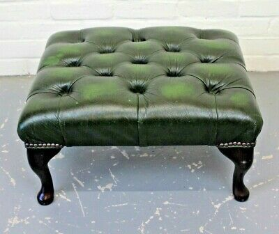 Antique Style Mahogany & Green Leather Chesterfield Footstool Stool