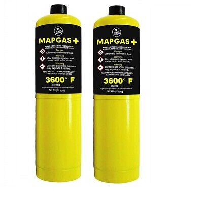 2 x Yellow MAPP /MAP+ Pro Gas Cylinder 400g Disposable Bottle