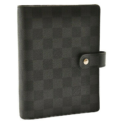 LOUIS VUITTON Damier Graphite Agenda MM Day Planner Cover R20242 Auth 8010