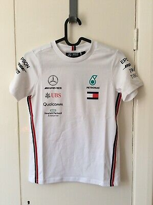 Official 2019 Mercedes-AMG Petronas F1 Kids Drivers T-Shirt White Aged 9-10 BNWT