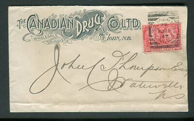 1897 St John NB Squared Circle Cancel on Canadian Drug Advertising Jubilee Cover