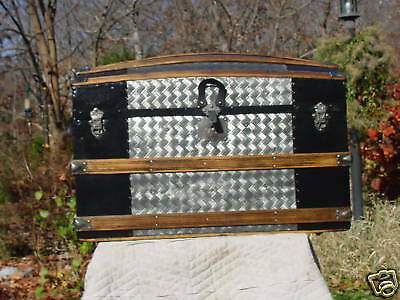 Antique Trunk  Embossed Tin  Herringbone Pattern  Lovely Restoration!