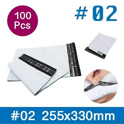 100 x #02 255 x 330mm Poly Mailer Post/Courier Bag Plastic Satchel Self Sealing