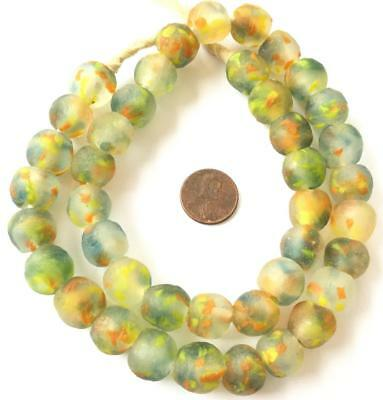Yellow Green multi Handmade Krobo recycled Glass African trade Beads- Ghana