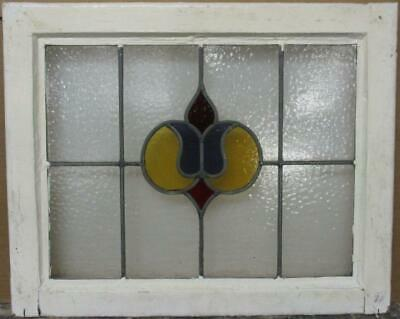 "OLD ENGLISH LEADED STAINED GLASS WINDOW Cute Abstract Design 21.75"" x 17.75"""