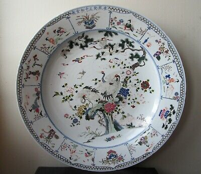 ANTIQUE Chinese QING DYNASTY Porcelain CHARGER plate CRANES Birds signed KANGXI