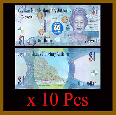Cayman Islands 1 Dollar x 10 Pcs, 2018 (2020) P-New 60th Cons. Commemorative Unc