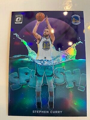 2019-20 Stephen Curry Splash Panini Donruss Optic Purple Insert Warriors Champs