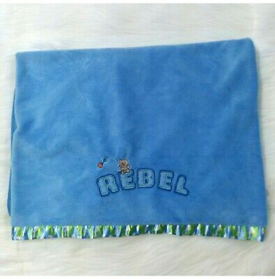 Just Boys Rebel Baby Blanket Green Blue Bear Camouflage Satin Security Camo B80