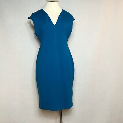 New York Co Women's Sheath Stretch Dress Sleeveless Blue Size Large Petite