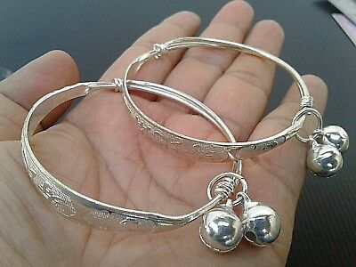 Set Baby Anklet Bell 22K 23K Thai Baht Gold GP Silver Plated Bracelet Jewelry