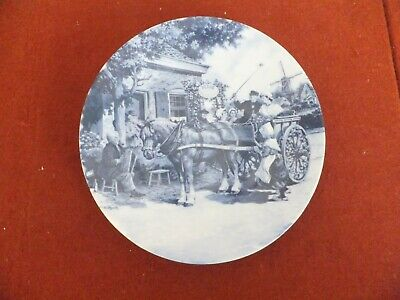 Ter Steege~BV Delft Blauw~Handdecorated In Holland Horse & Wagon 6 3/4""