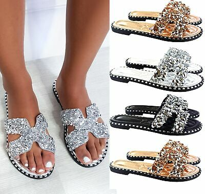 Womens Ladies Flat Summer Beach Hoilday Diamante Studs Beach Slip On Sandals Sz