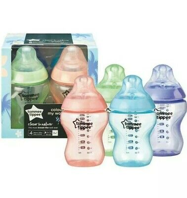 Tommee Tippee Hawaii Colour Baby Feeding Bottles Closer Nature Flow 4x260ml 0m+