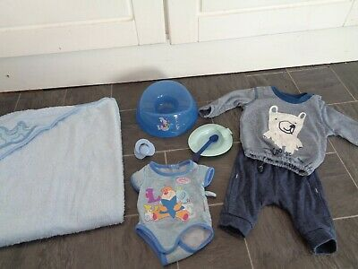 baby born boys bundle-potty,dummy,hooded towel,matching outfit,vest+feeding bowl