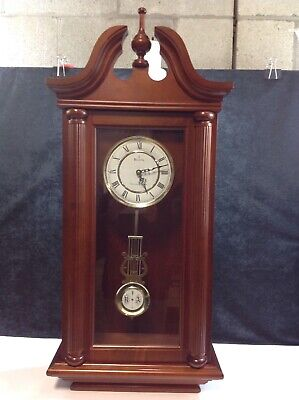 Bulova Westminster Whittington Chiming Pendulum Clock Solid Wood Case Heavy 36in