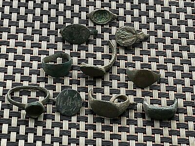 Lot Of 10 Ancient Late Roma And Byzantine Bronze Broken Rings Circa 400-800 Ad.
